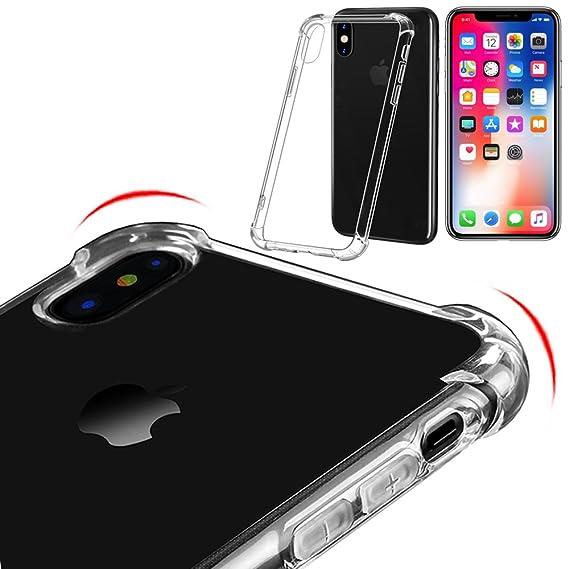new concept 319e5 fd020 iPhone X Case Clear Non Slip Bumper 4 Corners 360 Protection Slim and Thin  TIMESPA (1xCase)