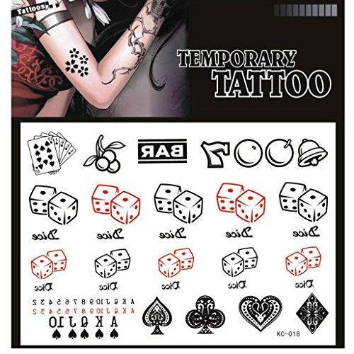 SYZ Beauty Waterproof Temporary Tattoos Poker Dice Playing Cards Spade Heart Club Diamond One-arm Bandit Tattoos (Club Casino Dice)