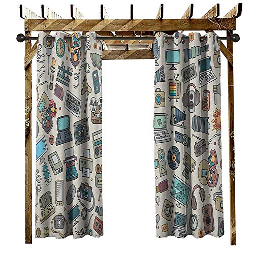 Doodle, Outdoor Curtain Pair, Complation of Various Office Gadgets Recorder Tv Laptop Monitor Tablet Switch Mouse, Fabric by The Yard W84 x L108 Inch Multicolor by Returiy (Image #2)
