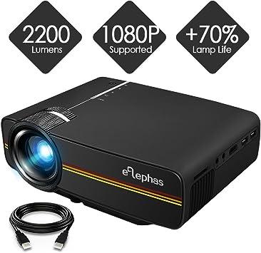 Elephas - Mini proyector LED (1080P HD, 2200 lúmenes, para HDMI ...