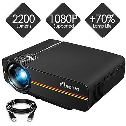 Proyector, Elephas LED Mini proyector Soporta 1080P HD 1500 ...