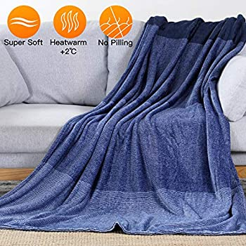LUXEAR-Fleece Blanket Revolutionary Warm Bed Blanket - Japanese Moisture Absorption Heat Storage Soft Flannel Blanket Cozy Winter Blanket for Adults Children Baby on Bed Couch Sofa - 59 X 79 inch-Blue