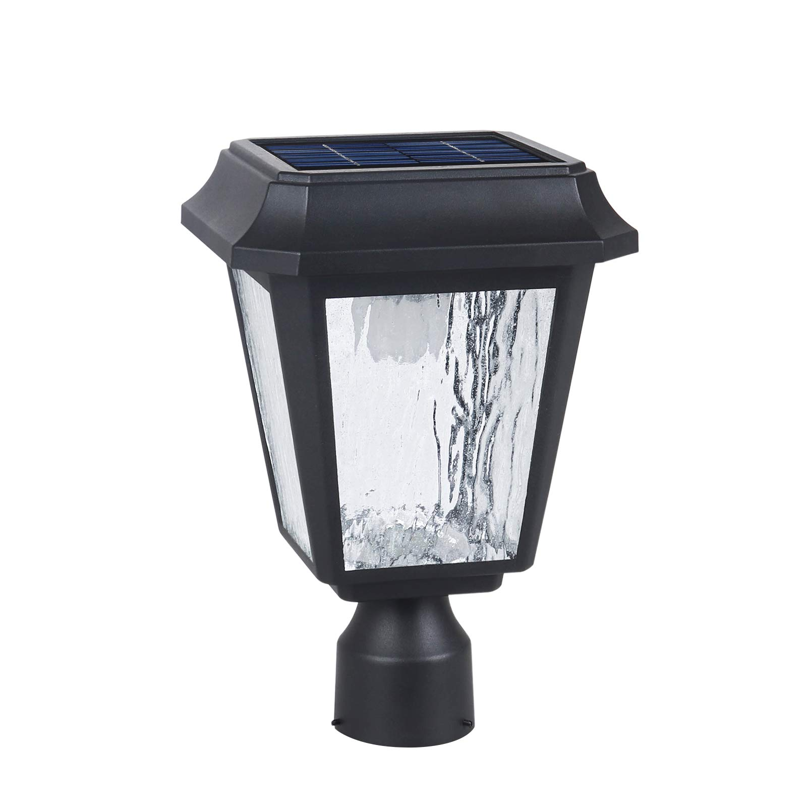 Solar Post Light Solar Powered Lamp Post Light Solar Post Cap Light Solar Patio Light Fabulously Bright 150 LUMENS Made of Aluminum die-Casting and Glass ST4618Q-A with 3 inches Post Adaptor by KMC LIGHITNG