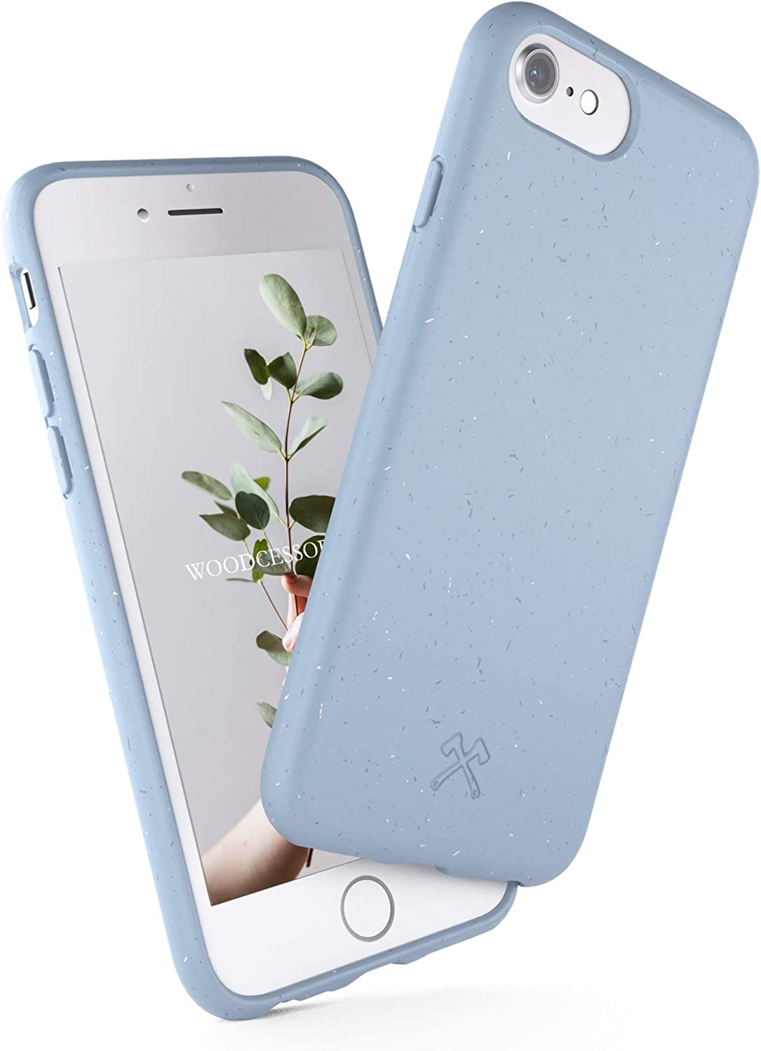 Woodcessories - Antibacterial Organic Case Compatible with iPhone SE (2020) / 8/7 / 6 / 6s - Plastic Free, plantbased, compostable, self-Cleaning - Lavender Blue