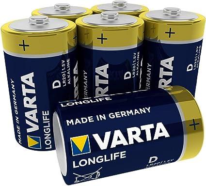 VARTA Longlife - Pilas Alcalinas D / Mono / LR20, Pack x6: Amazon ...
