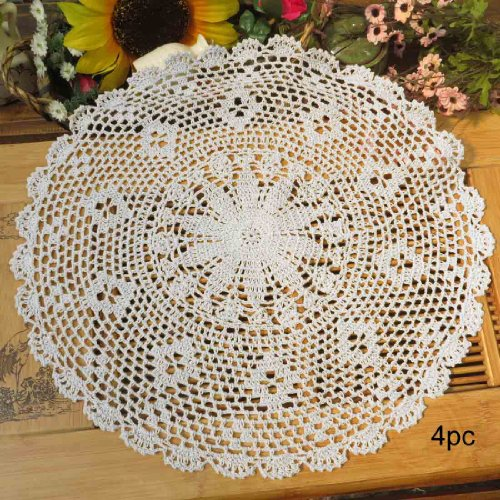 kilofly Crochet Cotton Lace Table Placemats Doilies Value Pack, 4pc, Persia, White, 17.7 inch