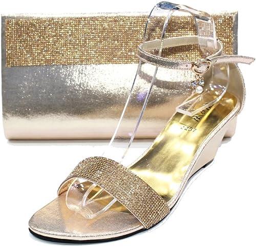 Damen Sandalen Schuhe Dazupassende Handtasche Mit Glasdiamantensteinen Bestuckt Und Verziert Zum Abendkleid Von W W San 2257b Gold Gold Grosse 42 Amazon De Schuhe Handtaschen