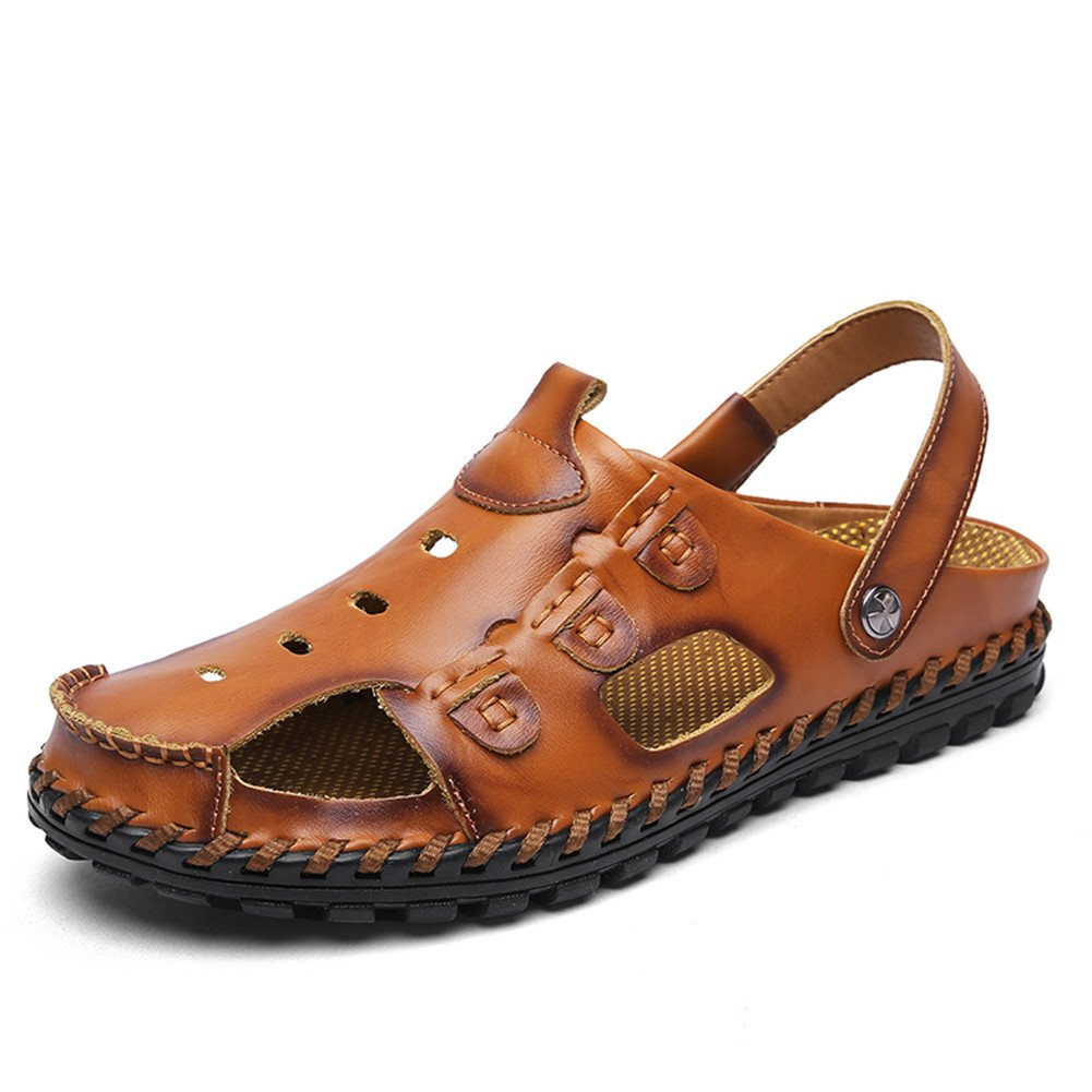 Aaron Men's Premium Genuine Leather Fashion Slipper Shoes Casual Beach Shoes Slipper 9 US|Yellow B07FTKDD3Q 6a21ed