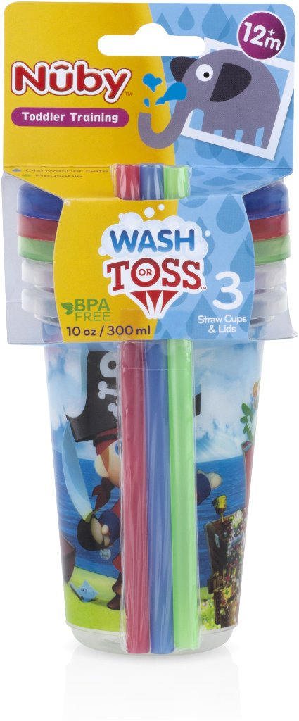 Nuby 1988306 Printed Wash or Toss 10 oz Straw Cups - Pack of 3 - Case of 72