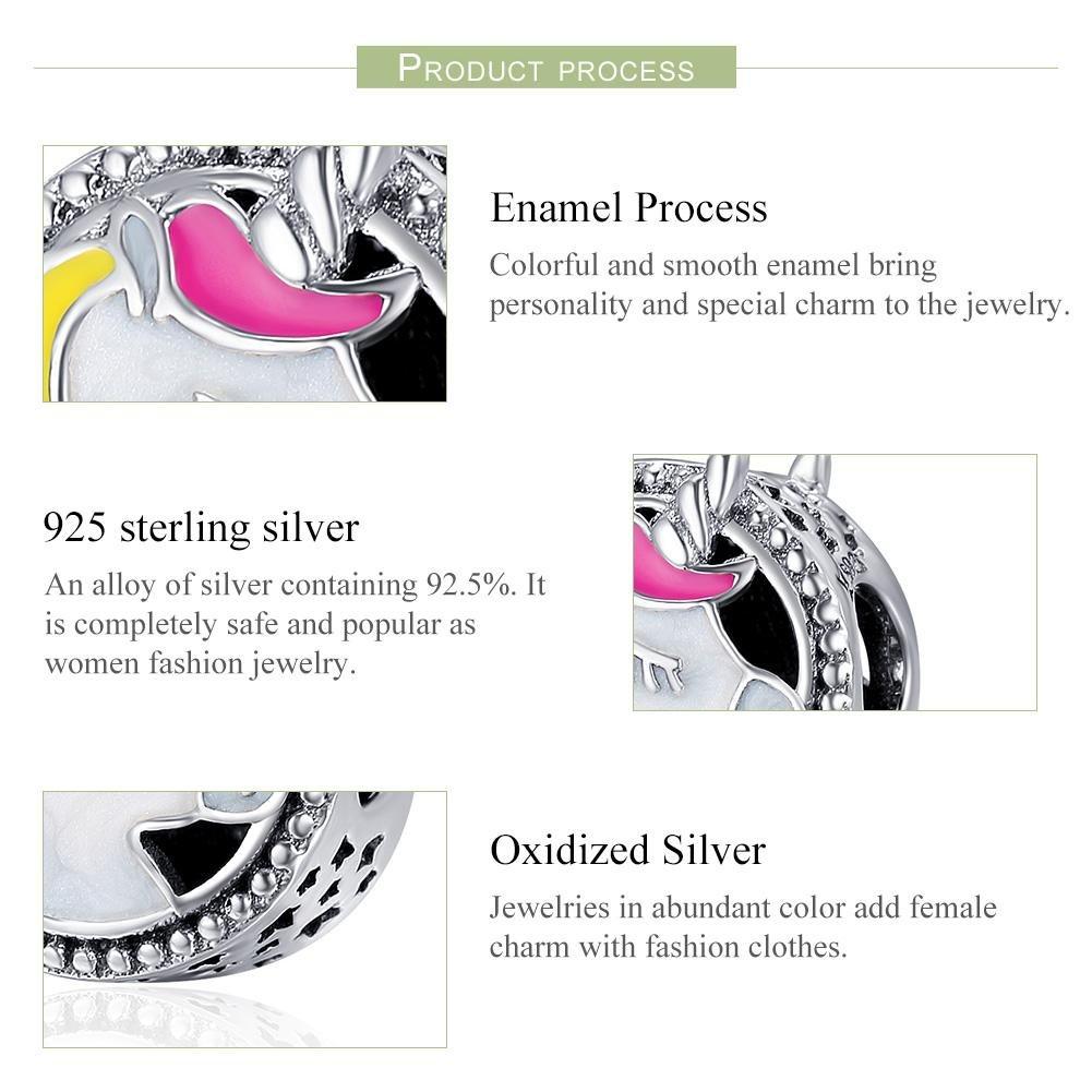Forever Queen Unicorn Charm for Pandora Charm Bracelet, Round Shape Genuine 925 Sterling Silver Colorful Enamel Bead for Pandora European Bracelets BJ09002 by Forever Queen (Image #3)