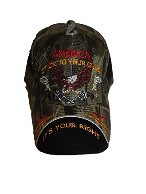 """2ND AMENDMENT /""""AMERICA STICK TO YOUR GUNS IT/'S YOUR RIGHT!/"""" Baseball Cap"""