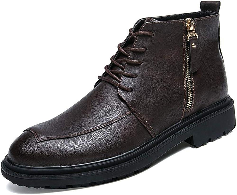 Zapatos Zapatos Oxford de los Hombres Botas Vestido de Tobillo Botas con Cordones Botas con Cremallera Botines de Zapatos Microfibra de Cuero Punta Redonda Cuero