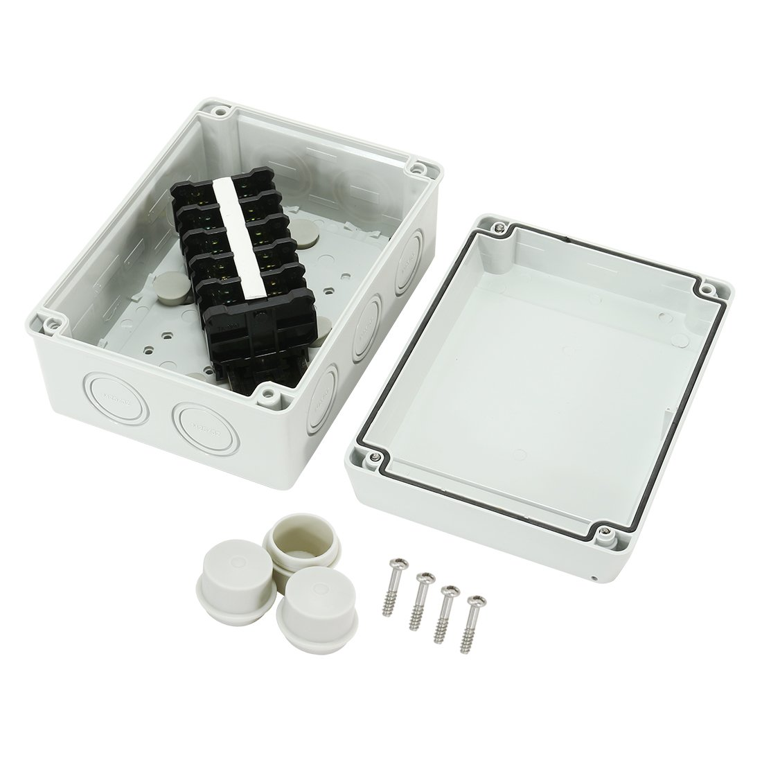 uxcell 6.6''x4.9''x3.2'' (167mmx125mmx82mm) ABS Flame Retardant IP65 Junction Box Universal Project Enclosure