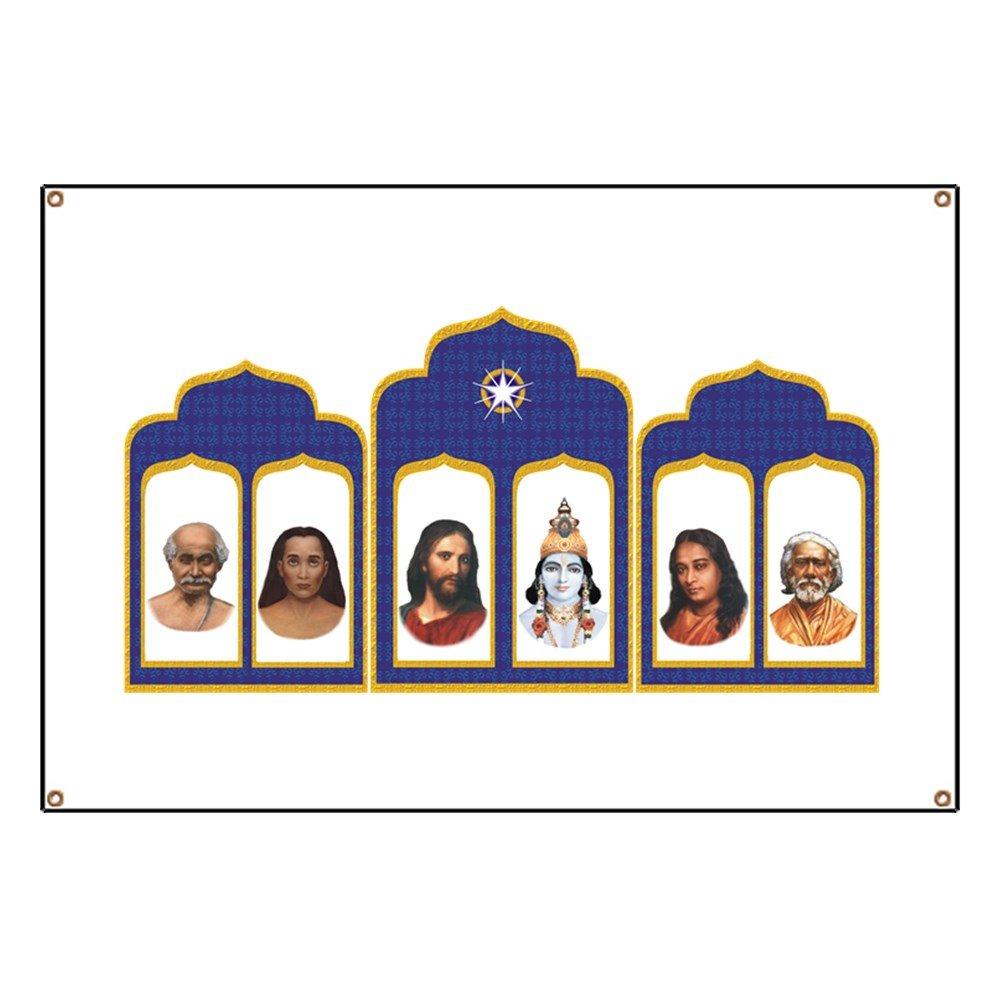 CafePress Standard Altar With 6 Gurus - Vinyl Banner, 44''x30'' Hanging Sign, Indoor/Outdoor