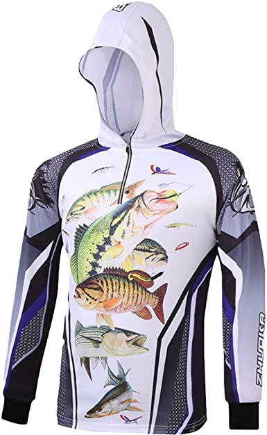 Nuoxiang Sweatshirt para Hombre Pesca Protección Solar Camisetas de Manga Larga Secado Rápido Camisa con Capucha Protección UV Estampados Hoodie