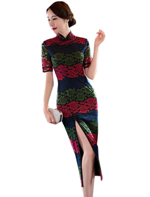 YueLian Women's Colorblock Lace Bodycon Side-split Mandarine Collar Qipao Long Dress
