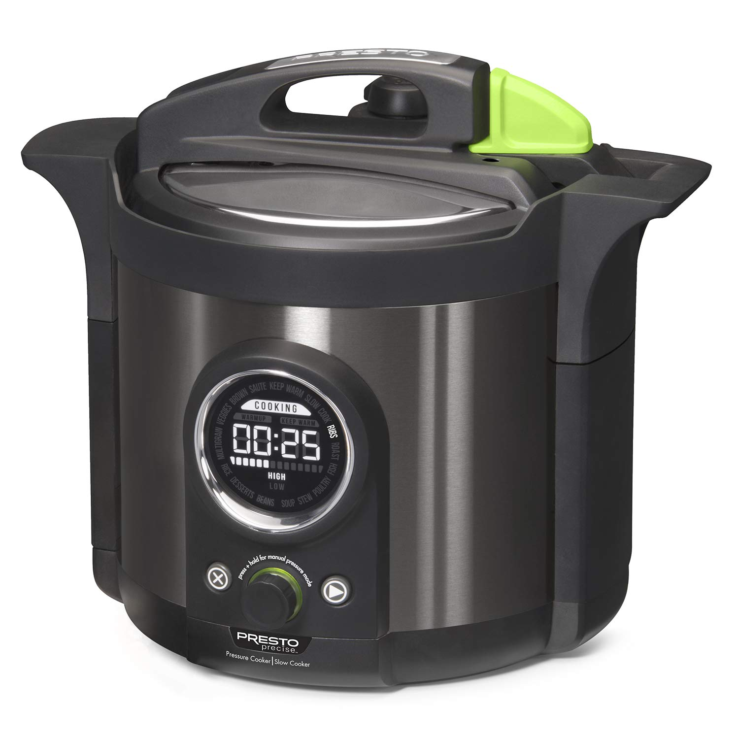 Presto 02142 Precise 6-Quart Multi-use Programmable Plus Electric Pressure Cooker 6qt Black Stainless Steel