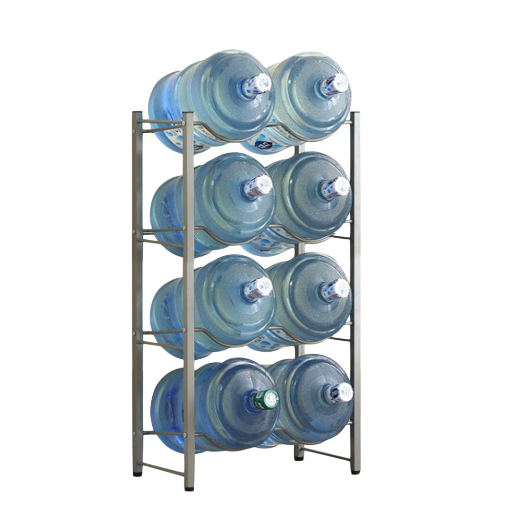 Whthteey Multi-Tier 5 Gallon Water Bottle Rack Heavy Duty Collapsible Cooler Jug Storage Holder Shelf (4 Layer, Silver) by Whthteey