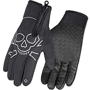 Touch Screen Zipper Winter Gloves Fleece Thermal Windproof Full Finger Gloves