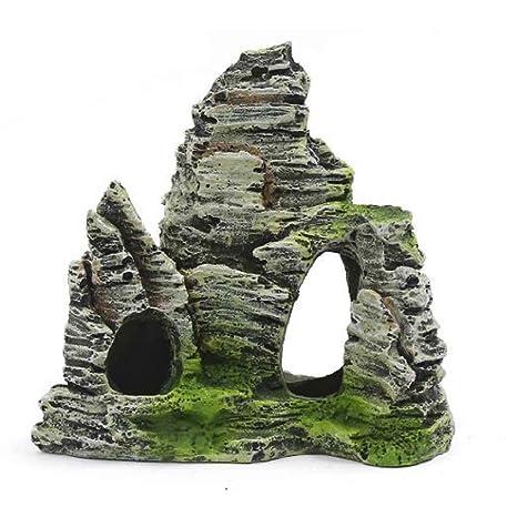 Kongnijiwa Mountain View Acuario de rocalla Cueva escondite del árbol del Ornamento del Acuario