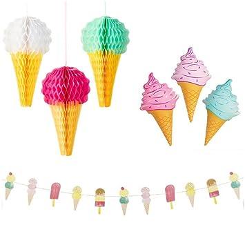 Icecream Decoraciones De Panal Colgante-Juego de 3 Decoraciones de Boda Fiesta Y