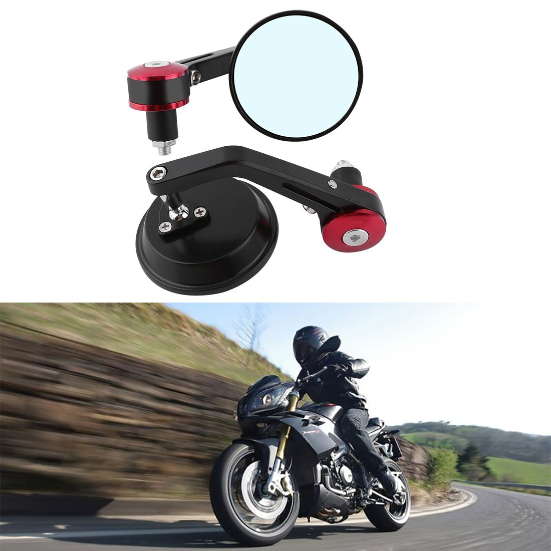 Katur, specchietti retrovisori per moto, universali, per manubrio da 22 mm, in lega di alluminio, forma rotonda, compatibile con Yamaha, Honda, Triumph, Ducati, Suzuki UPC