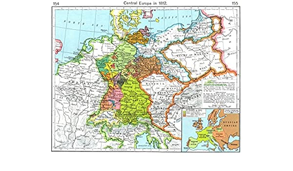 Amazon Com Europe Central Europe In 1812 Inset Map Of Europe In 1812 1956 Old Map Antique Map Vintage Map Europe Maps Wall Maps Posters Prints