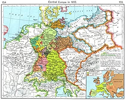 Amazon.com: EUROPE. Central Europe in 1812; Inset map of Europe in ...