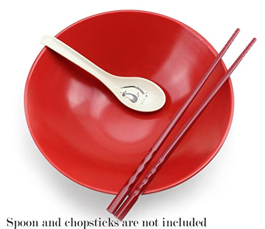Amazon.com | Set of 6 Japanese Ramen Noodle Bowls ~Made of Melamine, Red & Black Noodle Bowl, Udon Noodle Rice Bowl, Vietnamese Pho Recipe, Menudo Snacks, ...