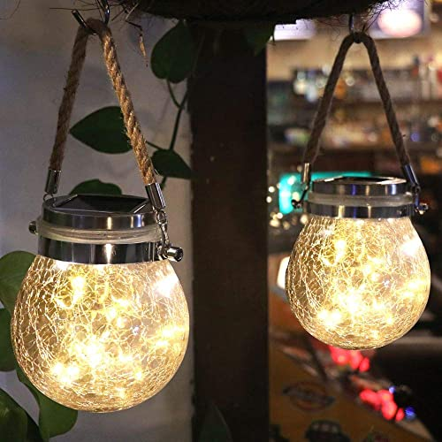 WELTRANS 2 Pack Hanging Solar Mason Jar Lid Lights, 30 Led String Fairy Lights Solar Lanterns, Crackle Glass Waterproof for Tree, Table, Yard, Garden, Patio, Lawn, Party Outdoor Decoration Warm White