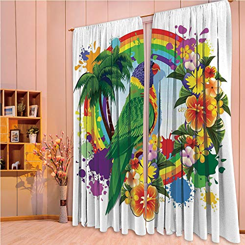 ZHICASSIESOPHIER Finel Kids Curtains for Living Room Bedroom Window Curtains Baby Room Lovely Children Curtains Drapes,Rainbow Circle with Palm Trees Tropical Plants 84Wx63L Inch