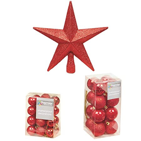 Premier Christmas Tree Decorations Pack   40 Baubles And 1 Star   Various  Colours (Red