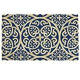 """DII Natural Coir Fiber, 18x30"""" Entry Way Outdoor Door Mat with Non Slip Backing - Blue Tunisia Scroll"""