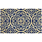"DII Natural Coir Fiber, 18x30"" Entry Way Outdoor Door Mat with Non Slip Backing - Blue Tunisia Scroll"