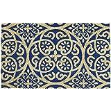 "DII Indoor/Outdoor Natural Coir Easy Clean Rubber Non Slip Backing Entry Way Doormat For Patio, Front Door, All Weather Exterior Doors, 18 x 30"" - Blue Tunisia Scroll"