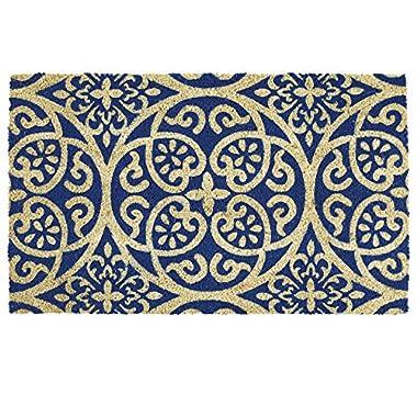 DII Indoor/Outdoor Natural Coir Easy Clean Rubber Back Entry Way Doormat For Patio, Front Door, All Weather Exterior Doors, 18 x 30  - Blue Tunisia Scroll