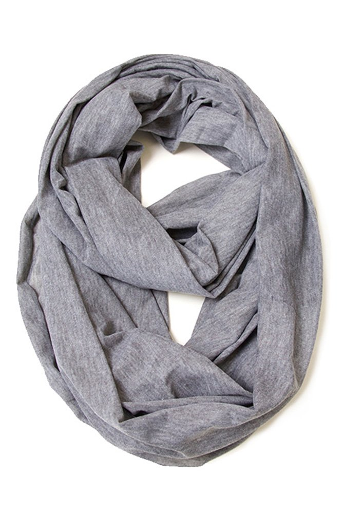 ScarvesMe Fashion Jersey Solid Color Soft Infinity Scarf (Heather Gray)
