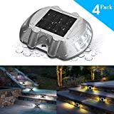 Solar Deck Light,SOLMORE 4 Pack LED Solar Dock Path Road Lights Marker lighting,Waterproof Security Warning Lights for Outdoor Fence Patio Stud Yard Home Driveway Pathway Stairs Step Garden Lamp White