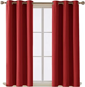 Deconovo Room Darkening Thermal Insulated Blackout Grommet Window Curtain Panel for Living Room True Red 42x63-Inch 1 Panel