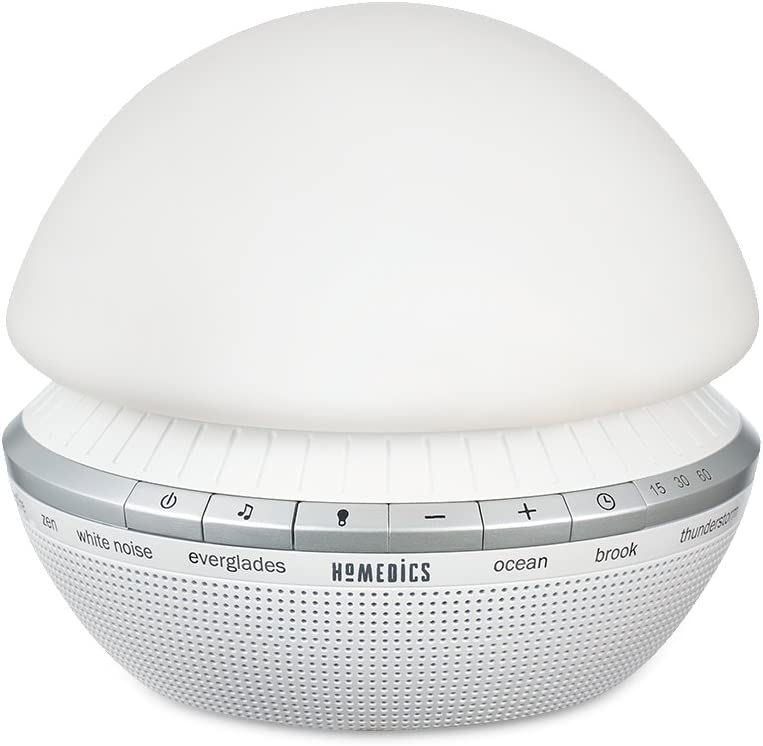 White Noise Sound Machine | Portable Sleep Therapy for Home, Office, Baby & Travel | 8 Relaxing & Soothing Nature Sounds, 6 Color-Changing Options, Aux-In Capable | HoMedics