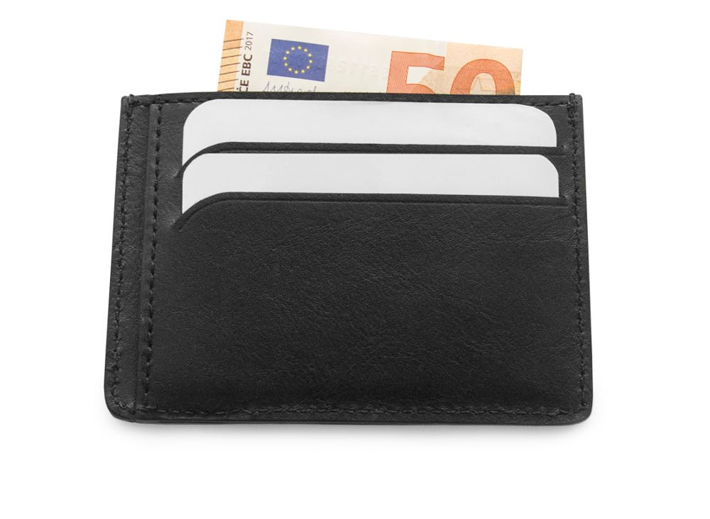 Custom Black Italian Leather Credit Card Holder Personalized with initials Leather Wallet