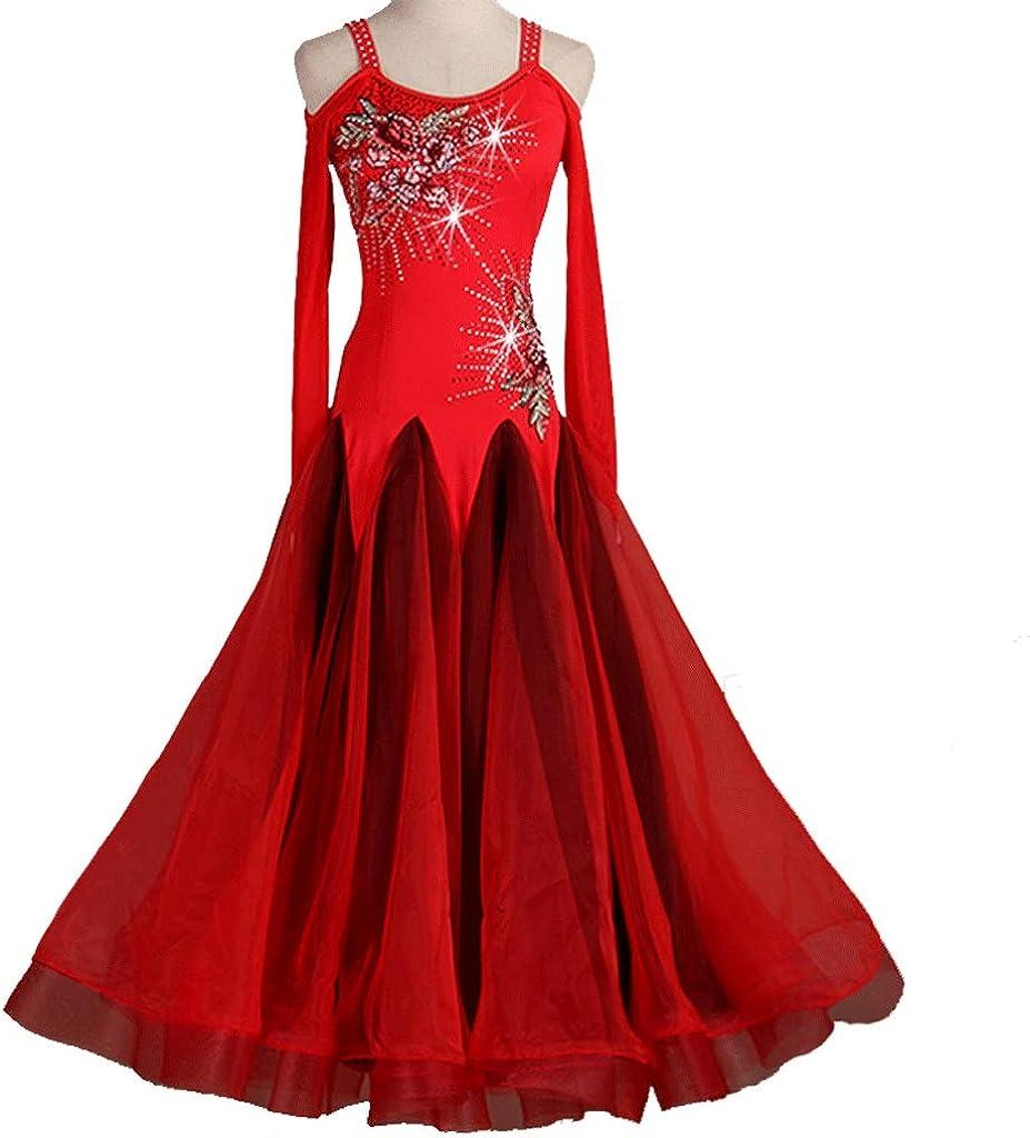 ハイエンドのモダンダンス刺繍のドレスラインストーン長袖ワルツ社交ダンスダンス衣装 レッド XL