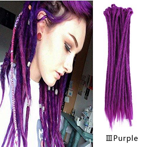AOSOME 20Pcs/20Inch Purple Dreadlocks Extension Braids All Handmade Crochet Synthetic Hair Extension