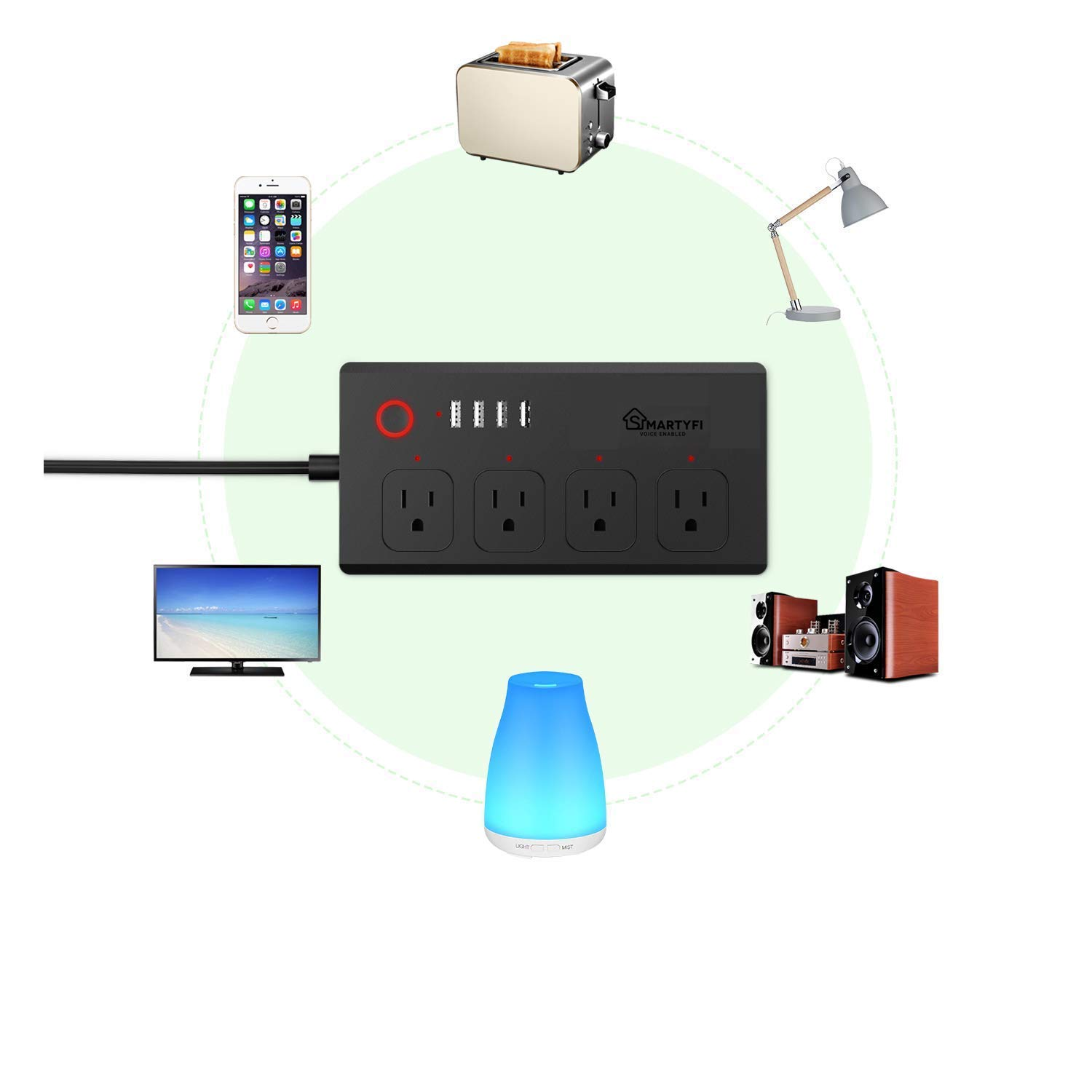 Smart Power Strip Works with Alexa and Google Home, SMARTYFI USB Power Strip and Smart Surge Protector, No Hub Required, Smart Life App, Multi Outlet Wifi Surge Protector with 4 AC and 4 USB Ports by SMARTYFI (Image #2)