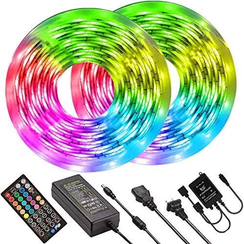 32.8ft 5050 RGB 300 LEDs Color Changing LED Lights Kit with IR Remote Controller and 12V 5A Power Supply for Home BESTKOO LED Strip Lights Kitchen DIY Decoration Bedroom