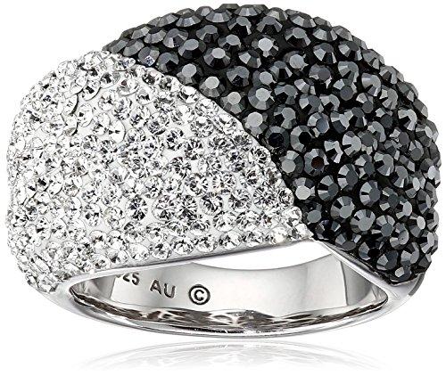 Amazon CollectionAnillo de plata de ley Blanco y Negro con Cristales de Swarovski, tamaño 7