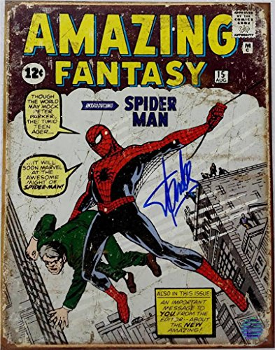Stan Lee Signed 12x16 Amazing Spider Man Tin Comic Book Cover Excelsior Approved