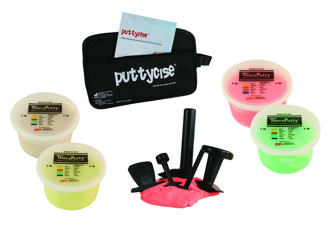 CanDo 10-2824 Puttycise Theraputty with Bag and Putties, 4 x 1 lb, Tan- Green, 5-Tool Set