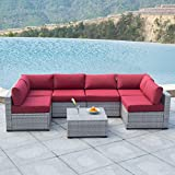 AURO Outdoor Furniture Sectional Sofa Conversation Set (7-Piece Set) All-Weather Gray Wicker Seating with Water Resistant Red Olefin Cushions | Patio, Backyard, Pool | Incl. Waterproof Cover&Clips