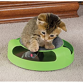 Scratcher Cat Toy with Rotating Mouse Kitten Toy Spinning Mouse Rotates 360° with Scratch Pad Scratching Claw Care Mat